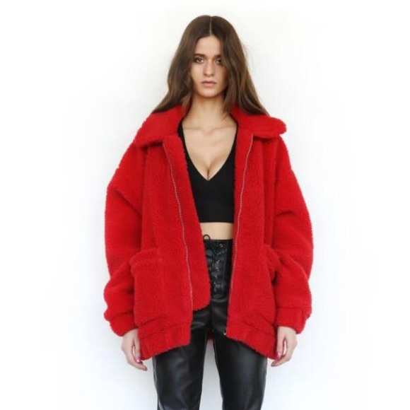 Urban Outfitters Jackets Coats Red Iamgia Fluffy Teddy Pixie